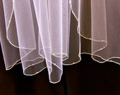 Wedding Veil Swarovski Crystal Rhinestone Sheer Silver Pencil Edge Trim 27 Inch Long Elbow Length