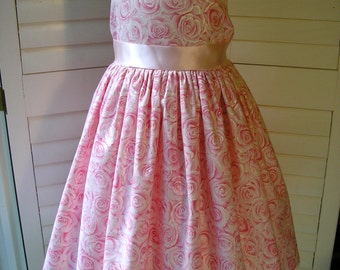 Pink And Silver Cotton Rose Fabric Flowergirl/Party Dress, Size 3
