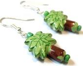 Sale Save 10% Palm Tree Earrings -- Porcelain Bead Earrings Kawaii Earrings