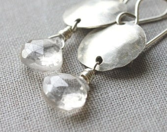 quartz earrings, silver disc earrings, sparkle gemstone jewelry, minimalist bridal jewelry