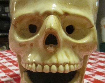 Vintage  70s Steampunk Goth Gothic  Skull Head Ceramic Lamp Light Atlantic Mold Company Halloween
