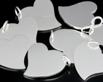 3KH-121 thai karen hill tribe handmade silver 2 medium die cut heart shape charm