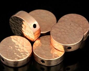 KZ-219 thai karen hill tribe silver 2 rose gold vermeil hammered cylinder round shaped bead