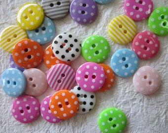 2-hole Small polka dot and strip Buttons 15 mm. - 30 pcs