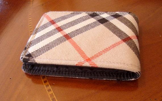 Mens Tartan plaid wallet -10 pocket wallet - diagonal stripes billfold -  merino wool billfold