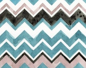 Watercolor Painting: Watercolor Chevrons -- Zig Zags --  Aqua Nude Black  -- 8x10
