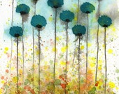 Watercolor Painting: Watercolor Flower Painting - Art Print - If Only - Teal Watercolor Flowers - 8x10