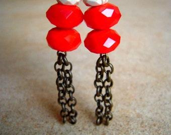 Sparkle Orange Tassel Earrings Faceted Bead