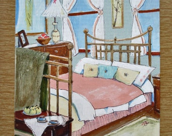 original acrylic on masonite still life bedroom brass bed