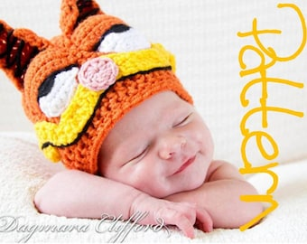 Crochet Hat Pattern - Crochet Garfield Beanie in Nectarine with Cartoon Features - Crochet Beanie Pattern
