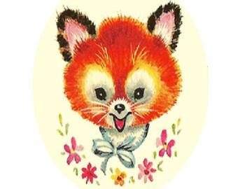 Vintage Baby Fox Cross Stitch Pattern PDF