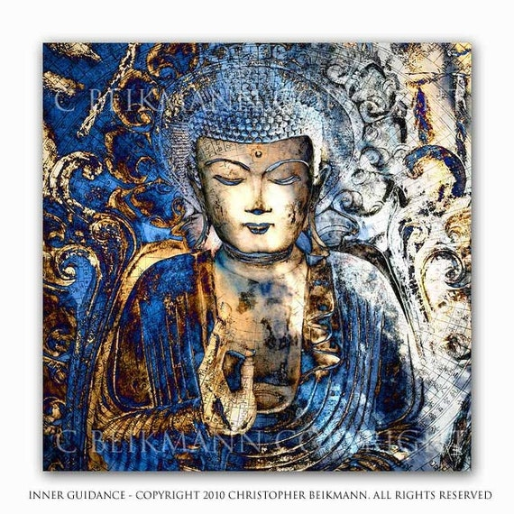 Buddha Art - Inner Guidance - 12x12 square blue Buddha giclee art print - by artist Christopher Beikmann - Copyrighted