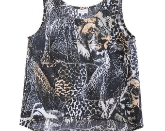 SALE - 75% off - Midnight Safari Womens Tank - Handmade from Animal Print Vintage Fabric