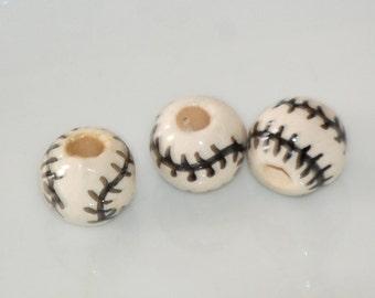 SALE  8mm BASEBALLS Peruvian Clay Beads (3) CLA22