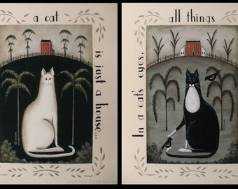 White Cat & Black Tuxedo Cat Primitive 11x14 prints. Kitty quotations, saltbox houses. New England style folk art by Donna Atkins,