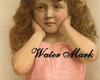 Digital download,little girl in pink holds her head in her hands, collage,sewing.ornaments,tags,cards