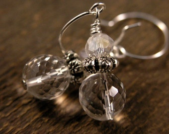 Rock crystal earrings genuine faceted stone beads, swarovski crystal and silver handmade earrings