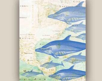 Blue Dolphins  Print, 11x14  Marine Wall Decor, Map art on North east America Nautical art,  Digital Collage  Print, Coastal Living