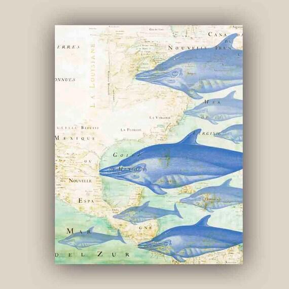Blue Print Wall Decor : Blue dolphins print marine wall decor map art by alganet