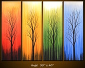 Wall Rainbow Amy Giacomelli Paintings Original Abstract Landscape Fine Art Painting, 4 gallery wrapped canvases, 30 x 40, ready to hang