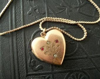 Edwardian Heart Fleur de Lis Monogrammed Locket  Gold Filled