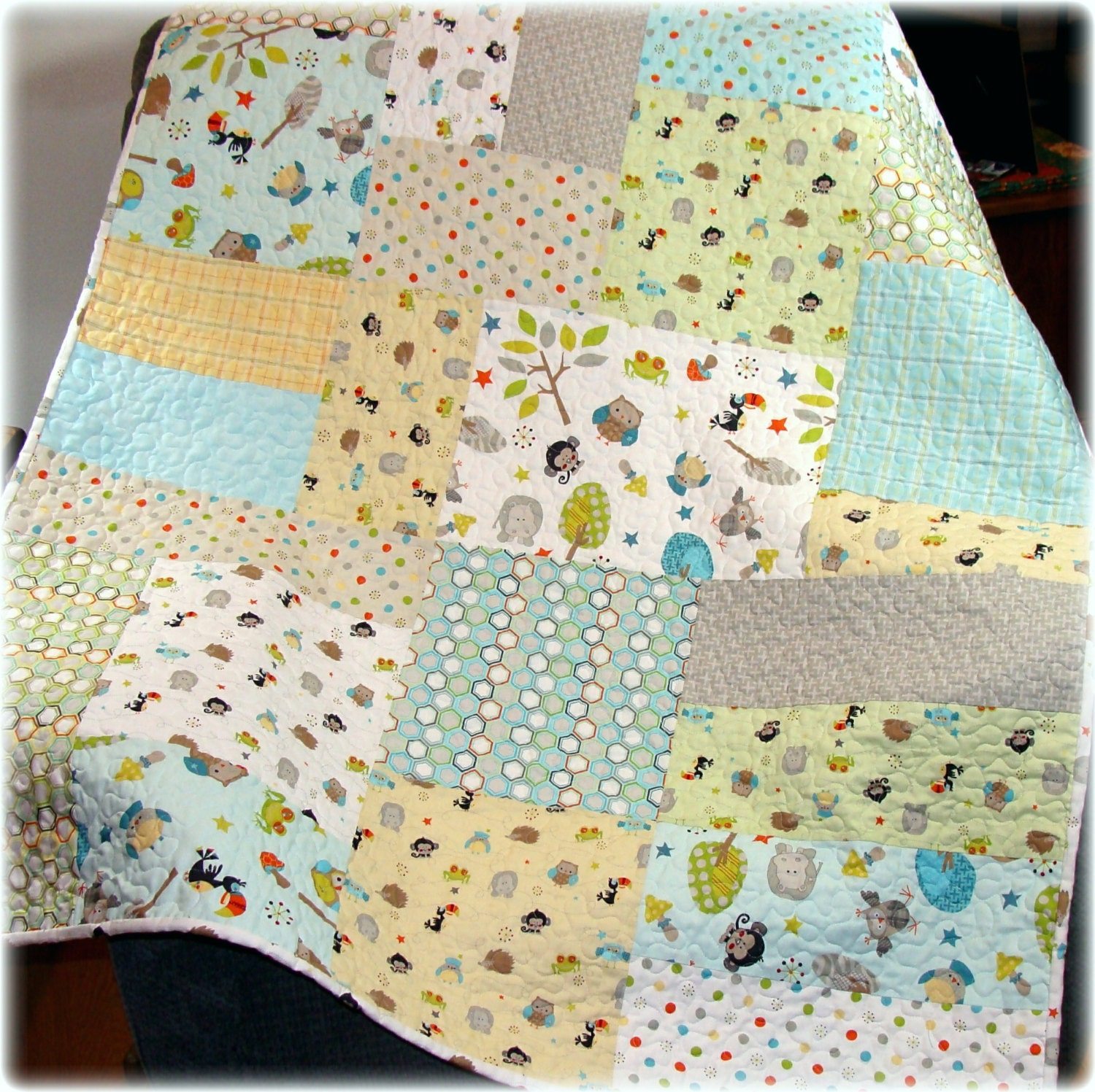 Baby Boy Quilt Life In The Jungle Fabrics Modern Big Block