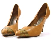 SALE 80s Metal Toe Tip Leather Pumps / Women's sz 6.5
