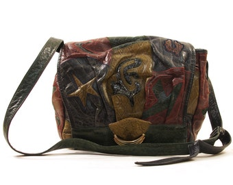 SALE 80s Sharif Patchwork Leather Shoulder Bag / Mixed Skins