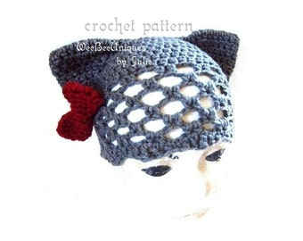 crochet pattern digital download kitty ears with a bow, toddler to adult