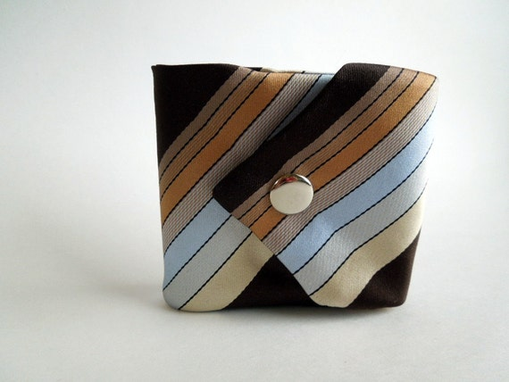 Mens Necktie Wallet Light Blue Brown Tan Stripes