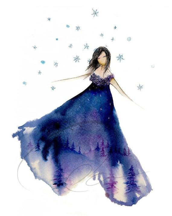Silent Night Watercolor Art Print Elsa Winter By Oladesign