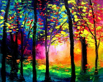 Landscape Art - Colorful Trees - print art giclee reproduction by Aja Autumn Eve 16x20 inches