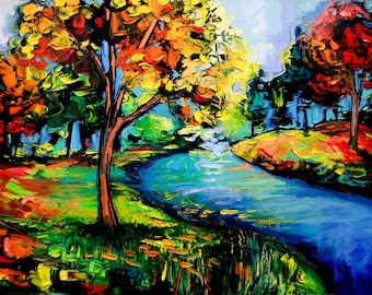 landscape print of painting forest art by Aja In Tranquillity 18x24