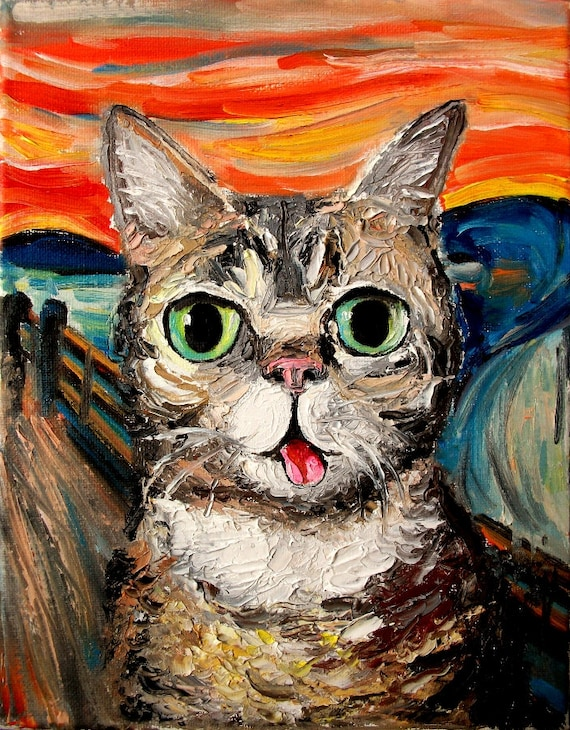 Lil Bub Meets The Scream - print of original oil painting 16x20 inches