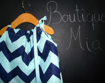 Pillowcase DRESS - Riley Blake - Navy and Aqua Chevron - 2 Years of Fashion - Pick the size Newborn up to 12 Years - by Boutique Mia