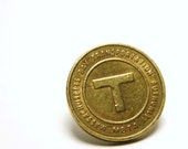 Tie Tack Boston MA Vintage Subway T Token - Simple Mens Brass Accessory for Him - Etsy Dudes - Love that Dirty Water - MBTA