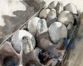 kitchen art  | Watercolor print | egg art | gray still life