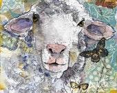 Lamb Art | White Sheep | farm animal painting art | country kitchen decor nursery room art | mixed media | collage art | FRAMEABLE PRINT
