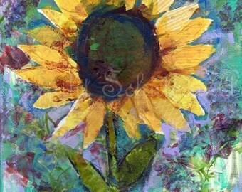 sunflower picture | sunflower painting | Sunflower Art | canvas Print  | contemporary modern mixed media art | collage art  | flower artwork