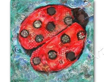 Original art | whimsical art | Ladybug lady bug | collage art | mixed media art | original painting canvas art | contemporary art 12x12