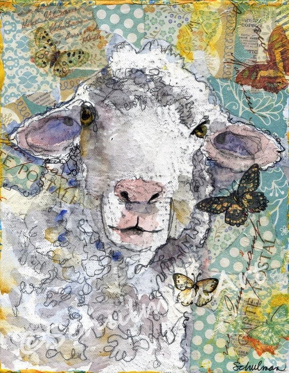 Lamb Art | White Sheep | farm animal painting art | country kitchen decor nursery room art | mixed media | collage art | FRAMEABLE PRINT