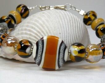 GINGER Handmade Lampwork Bead Bracelet