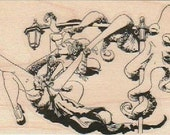rubber stamps Rubber stamp   Octopus Swing Set by Brian Kesinger Octopus bicycle wood, unmounted or cling stamp19050