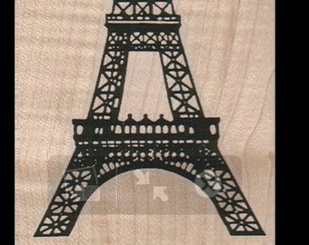 medium Eiffel Tower rubber stamp,  cushioned mounted art and craft supplies   tateam  Item 1728 Paris France