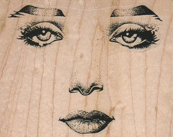 rubber stamp craft large Woman facial features face   8852 Mounting options:  cling stamp, unmounted or wood mounted