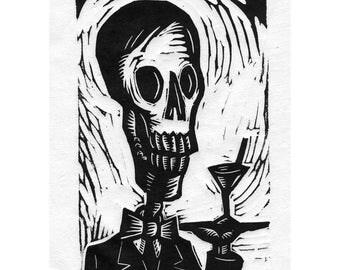 Skeleton Waiter Calavera Linocut
