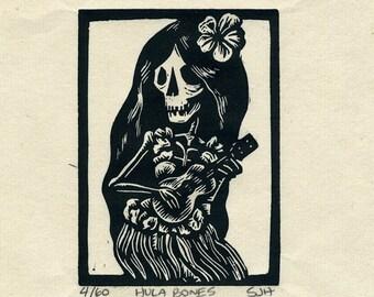 Hula Bones Linocut