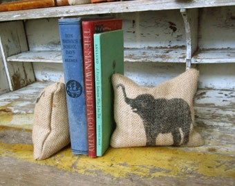 Miss Baba the Circus Elephant-  - Petit Feed Sack Pillow Pair - Unique paper weight, bookends, pin cushion, etc