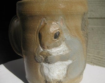 handmade sculpted squirrel coffee mug