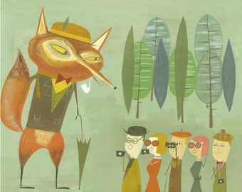 The crafty fox entertains visitors. Limited edition print by Matte Stephens.